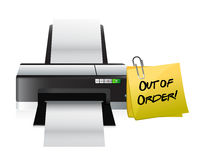 Printer out of order post. Illustration design over a white background Stock Image