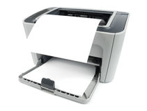 Printer With Paper. Printer with clean sheet isolated over white with clipping path Stock Images