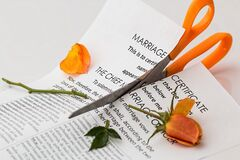 Printer Paper Cut With Orange Scissor Royalty Free Stock Photography