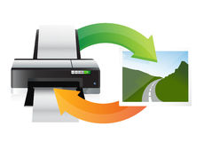 Printer and print cycle Stock Photo