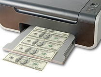 Printer printing fake dollar Stock Photo