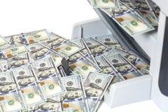 Printer printing fake dollar bills Stock Image