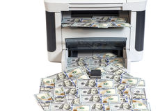 Printer printing fake dollar bills Royalty Free Stock Images