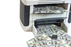 Printer printing fake dollar bills Royalty Free Stock Photos