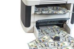Printer printing fake dollar bills Royalty Free Stock Photos