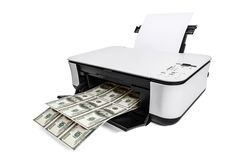 Printer printing fake dollar bills. On white background stock photo