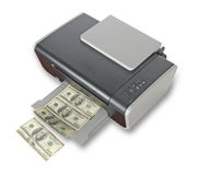 Printer printing fake dollars Royalty Free Stock Photo