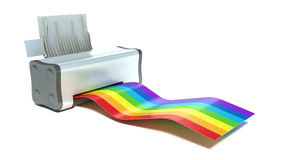 Printer and rainbow Royalty Free Stock Images