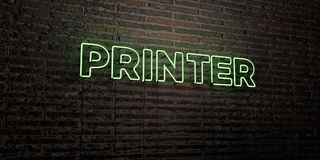 PRINTER -Realistic Neon Sign on Brick Wall background - 3D rendered royalty free stock image Stock Images