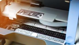 Printer repair close up. digital photocopier machine. printing equipment, 3d scanner.  royalty free stock photo