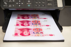 Printer with RMB paper currency Royalty Free Stock Photo
