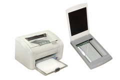 Printer and scanner. Under the white background stock images