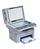 Printer and scanner isolated. Grey computer printer and scanner isolated Stock Photo
