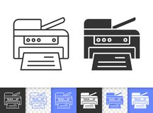 Printer simple black line vector icon vector illustration