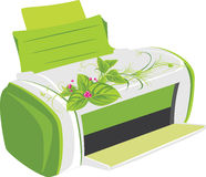 Printer with spring bouquet stock photography
