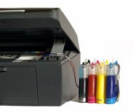 The printer and system of  feed of ink. The printer and system of feed of ink on a white background Royalty Free Stock Photography