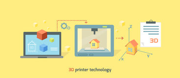 Printer Technology Icon Flat Design. 3D printer technology icon flat design. Future manufacturing, innovation prototype machine, product print on computer Royalty Free Stock Photo
