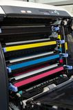 Printer toners cartridges close up Stock Photos