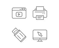 Printer, USB flash drive and Monitor icons. Royalty Free Stock Images