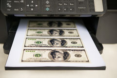 Printer with USD paper currency Stock Images