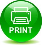 Printer web icon. Printer web button icon on isolated white background - vector illustration Royalty Free Stock Images