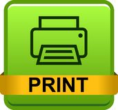 Printer web icon. Printer web button icon on isolated white background - vector illustration Royalty Free Stock Photos