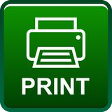 Printer web icon. Printer web button icon on isolated white background - vector illustration Royalty Free Stock Photo