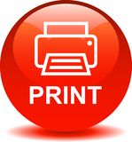 Printer web icon. Printer web button icon on isolated white background - vector illustration Royalty Free Stock Image