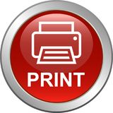 Printer web icon. Printer web button icon on isolated white background - vector illustration Royalty Free Stock Photography