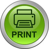 Printer web icon. Printer web button icon on isolated white background - vector illustration Stock Image