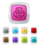 PrinterGlossy button - vector illustration