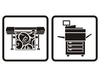 Printers. Large format printer and multifunction printer  icons Royalty Free Stock Photos