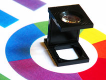 Printers magnifying glass. Image of a printers loupe Royalty Free Stock Photos