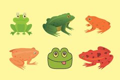 PrintExotic amphibian set. Frogs in different styles Cartoon Vector Illustration . tropical animals.  Royalty Free Stock Photography