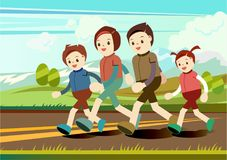 Printfamily love running country road mountain view, flat vector. stock illustration