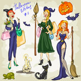 PrintHalloween Witches - 1. Hand drawn collection Royalty Free Stock Photo