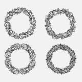 PrintHand drawn illustration. Vintage decorative lovely set of laurels, branches and wreaths. Doodle Greek ancient wreath, with la Stock Images
