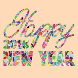 PrintHappy new year hand lettering. Vector illustration stock illustration