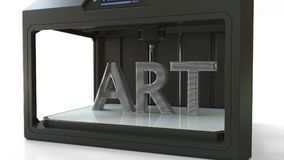 Making ART volumetric text with a metal printing 3D printer, 3D rendering. Printing ART text with a 3D printer Royalty Free Stock Image