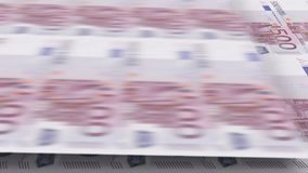 Printing of banknotes 500 euros. Looped 3d animation. vector illustration