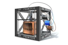 Printing a bronze cube Stock Image