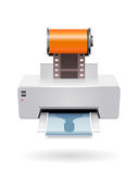 Printing camera film. Illustration of a digital printer making prints by a camera film roll Royalty Free Stock Images