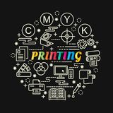 Printing colorful gradient with line icons set Royalty Free Stock Image