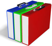 Printing concept, slim briefcases red, green, blue. On white background 3D illustration Stock Photography