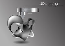 Printing 3D. Industrial 3D printer prints abstract model Stock Images