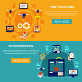 Printing Details And 3d Construction Horizontal Banners. Prototyping horizontal banners set with showing printing details and 3d construction icons compositions Royalty Free Stock Photography