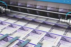 Printing 50 DK Danish krona money banknotes. Business success, finance, banking, accounting and making money concept: 3D render illustration of printing 50 DK vector illustration