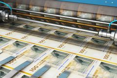 Printing 100 DK Danish krona money banknotes. Business success, finance, banking, accounting and making money concept: printing 100 DK Danish krona money paper stock illustration