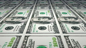 Printing of 100 dollar bills stock video footage