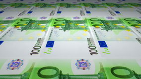 Printing of 100 Euro stock footage